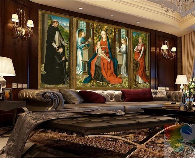 Custom 3d Mural Wallpaper Non Woven Son Holy Angels St Jerome Living Room TV
