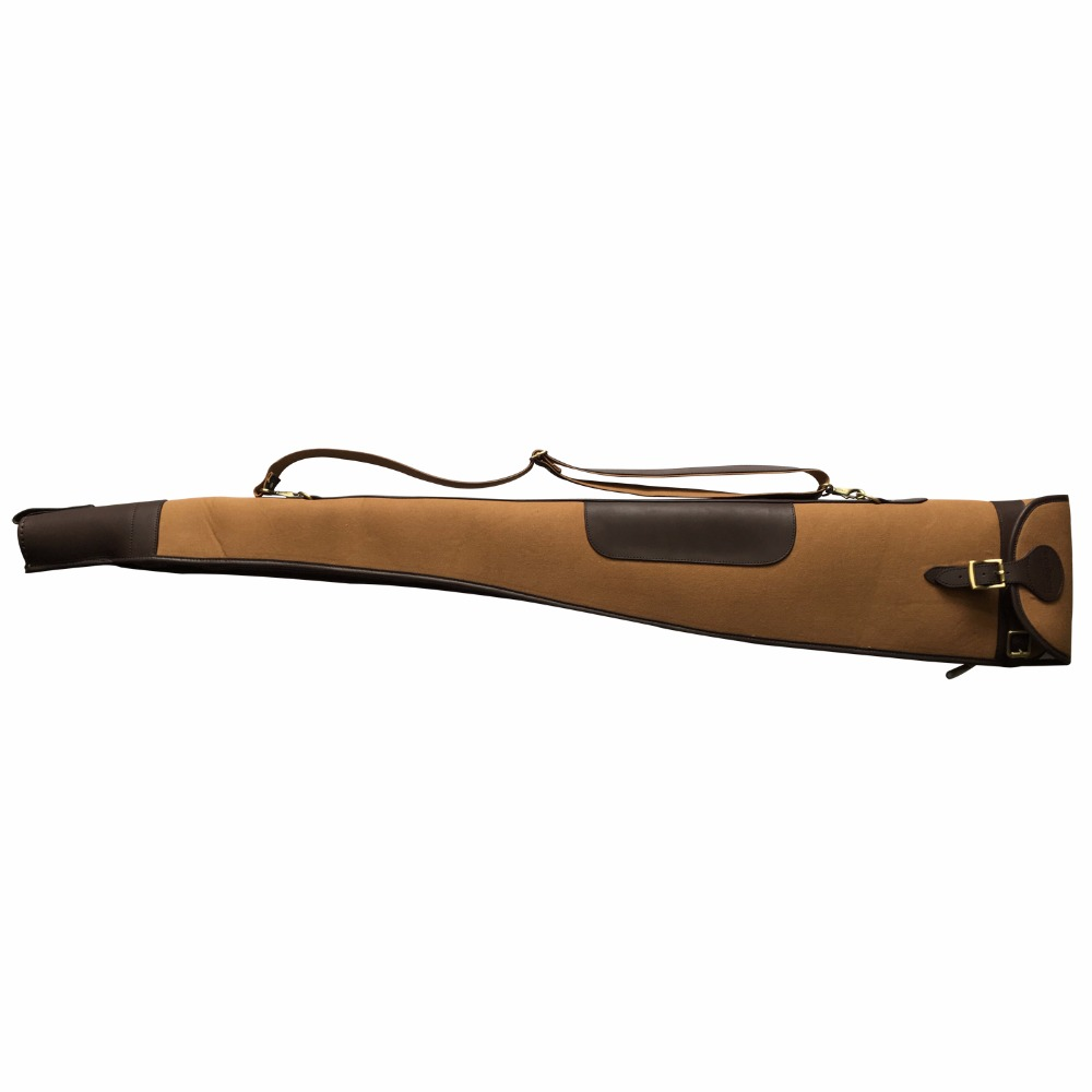 цена на Tourbon Hunting Accessories Classic Padded Brown Canvas & Leather Shotgun Case Slip Gun Protection Bag Carrier 130cm with Zipper