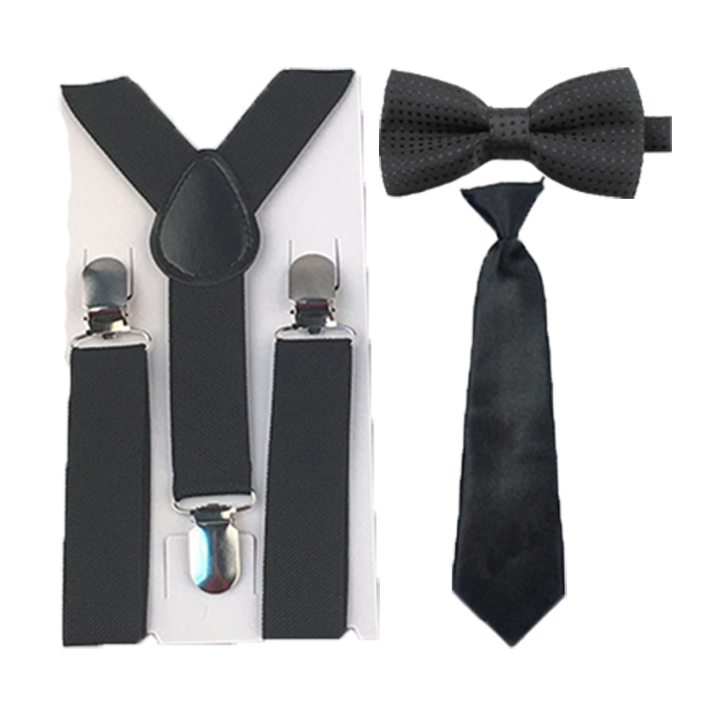 Hot Selling Solid Color Black Suspenders Dots Bowtie Ties Set Wedding Party 1-8 Years HHtr0007a05