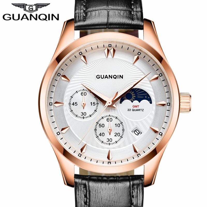 ФОТО New Brand GUANQIN Men Quartz Watch Fashion Moon Phase Luminous Waterproof Resistant Wearable Wearable Sport Leather Wristwatches