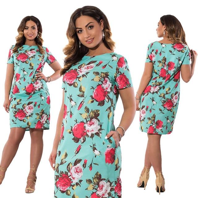 98826951f54f6 US $12.58 33% OFF|2018 Autumn Plus Size Dress Europe Female Fashion  Printing Large Sizes Pencil Midi Dress Women's Big Size Clothing 6XL  Vestidos-in ...