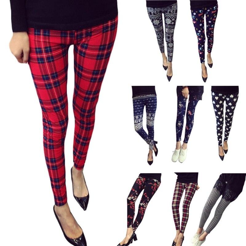 2018 Hot Print Flower Leggings Multiple Flower Pattern Slim Nine Pants Leggings