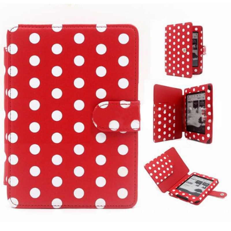 High Quality Amazon Kindle Paperwhite Case Cover New Polka dot Pu Leather Wakeup/Sleep Function Cover Case For Kindle 6inch walnew case for amazon new kindle paperwhite 7th