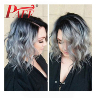 PAFF Ombre 1B/Grey Short Bob Hair Wavy Wig Lace Front Human Hair Wigs Dark Roots 100% Malaysia Remy Hair Wigs With Baby Hair