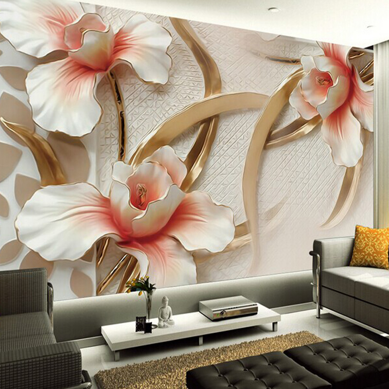 Custom Mural Wallpaper Non-woven European Style 3D Stereo Relief Lily Wall Painting Modern 3D Photo Wall Paper For Living Room