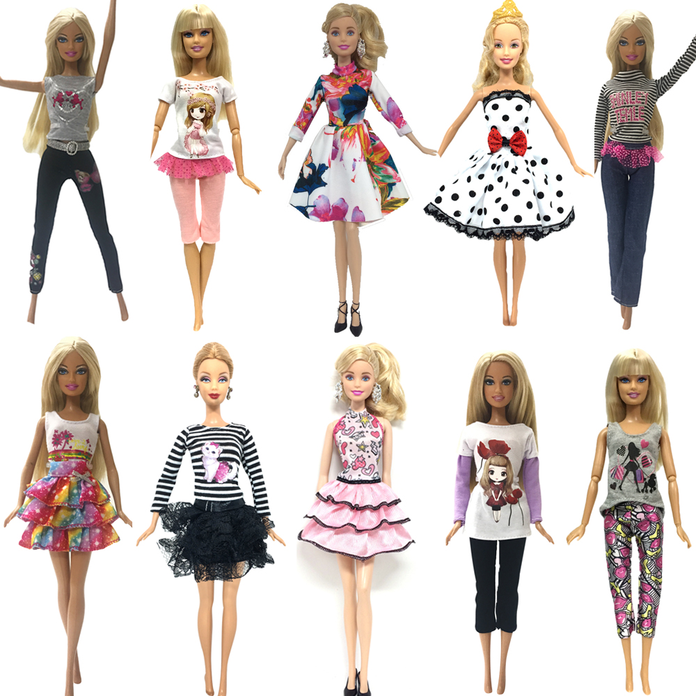 NK 10 Pcs /Set Doll Hot sale Outfit Fashion Clothes Casual Party Dress Suits For Barbie Doll Best Gift Baby Toy Doll Clothing