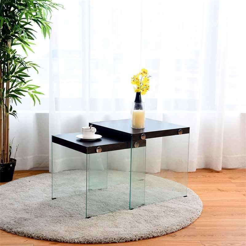 Glass Table Coffee Table.2 Pcs Soho Nesting Coffee Table Stackable Glass Sided Table P2 Level Mdf And Tempered Glass Material Two Piece Design Hw59450