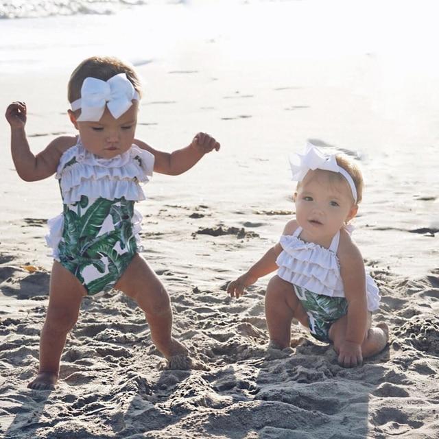 e9c8445fa6632 Summer New Kid Baby Girls Bikini Swimsuit Matching Palm Leaves One-Piece  Suits Ruffle Cute Swimwear Beachwear Costume