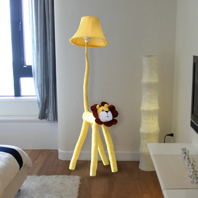 Floor Stand Lamps Bedroom Decoration Lighting Cloth Cartoon Animal Lion Kids
