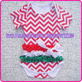 Christmas baby girls cotton one-piece diapers wholesale ruffle short-sleeve cotton outfit chevron bodysuit