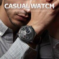 2019 メンズタイム高級防水スポーツ腕時計カジュアルビジネスの男性の革腕時計トップブランド KADEMAN クォーツ腕時計レロジオ -