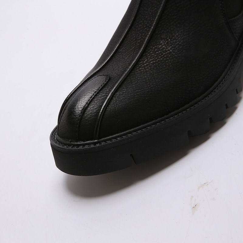 Preto Tendência Redondo Plataforma Sapatos Tamanho De Moda Pu Pé Fundo Do Vestido 38 Homens Dedo Grosso Lazer 43 Homem Concise Sapatas Couro Dos dqvd6x