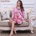 N1687 ig Размер Женщины Ночная Рубашка 2016 Топ Продвижение Лето Шелковый Халат Сна Longue Атласный Халат Дамы Ночную Рубашку