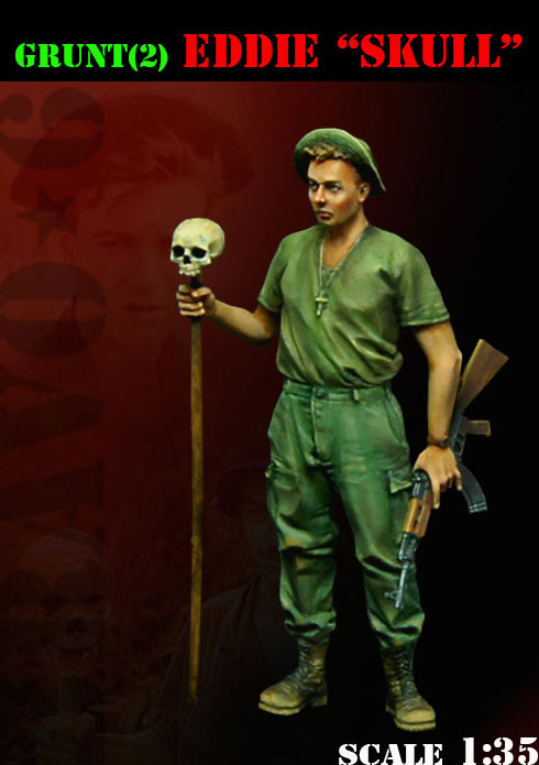 <font><b>1</b></font>/<font><b>35</b></font> <font><b>Vietnam</b></font> <font><b>War</b></font> Eddie Skull soldier toy <font><b>Resin</b></font> Model Miniature <font><b>resin</b></font> <font><b>figure</b></font> Unassembly Unpainted image