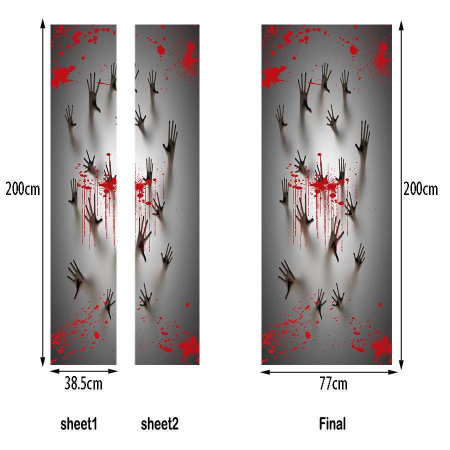 Bloody Bathroom Door Hand Print Scary Halloween Pattern Bar Funny ...