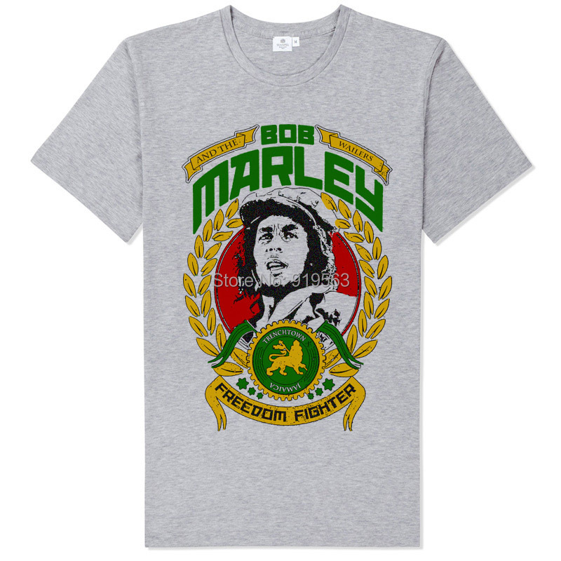 Bob Marley <font><b>freedom</b></font> fighter reggae <font><b>leaf</b></font> collage printing classic modal cotton t shirt