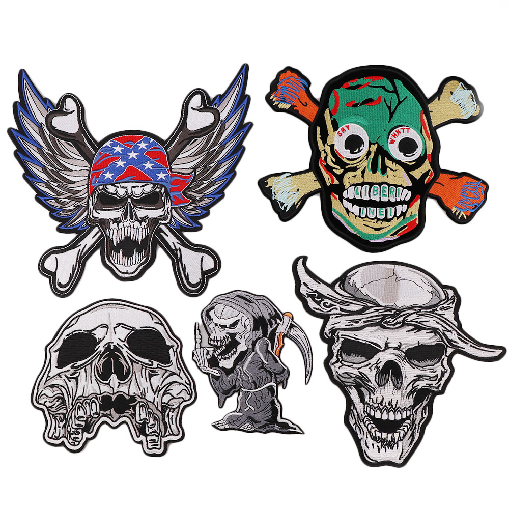 1PC Big Size Skull Skeleton Iron On Patches Stripes For Clothes DIY Embroidered Patch Applique Badges Clothing For T Shirt