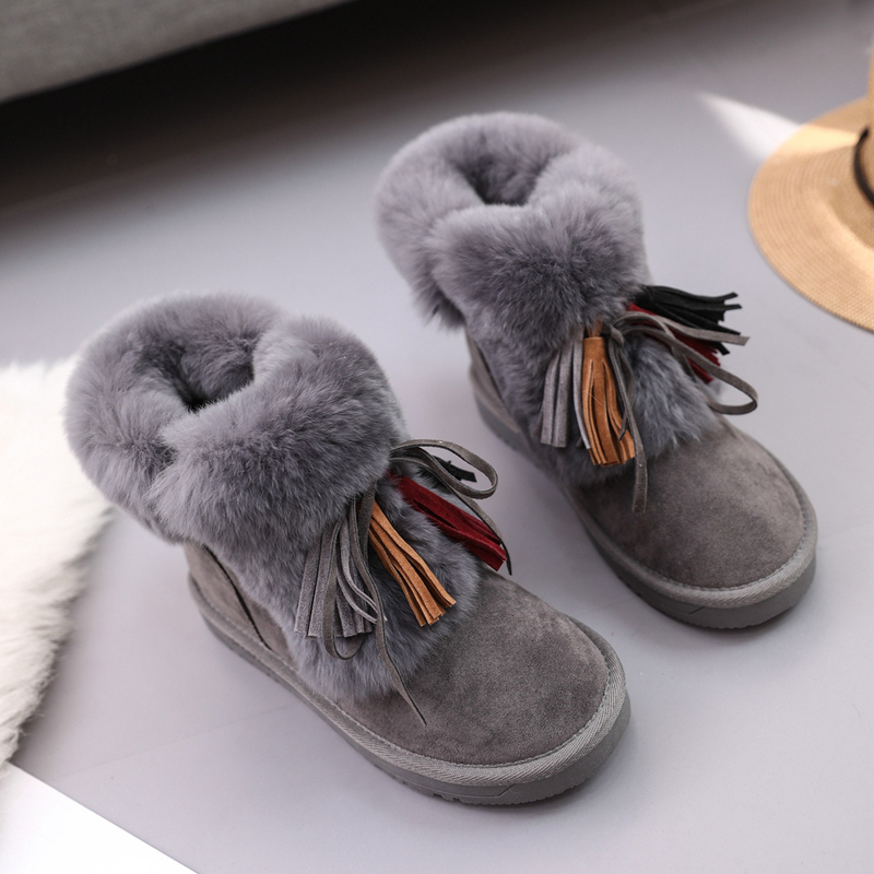 Fashion Women Ankle Boots Suede Tassels Snow Boots Female Warm Plush Bowtie Fur Rubber Flat Silp On Platform Black Shoes Casual fashion women ankle boots suede tassels snow boots female warm plush bowtie fur rubber flat silp on platform black shoes casual