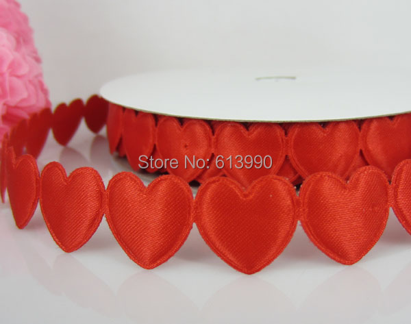 Free Shipping 20Yards Red Connect Padded Felt Heart Applique/Craft Wedding 16mmx16mm
