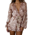 2016 Summer Womens Jumpsuit Long Sleeves Sequined Lace V-Neck Floral Elegant Jumpsuits Sexy Playsuit Overalls For Women Rompers