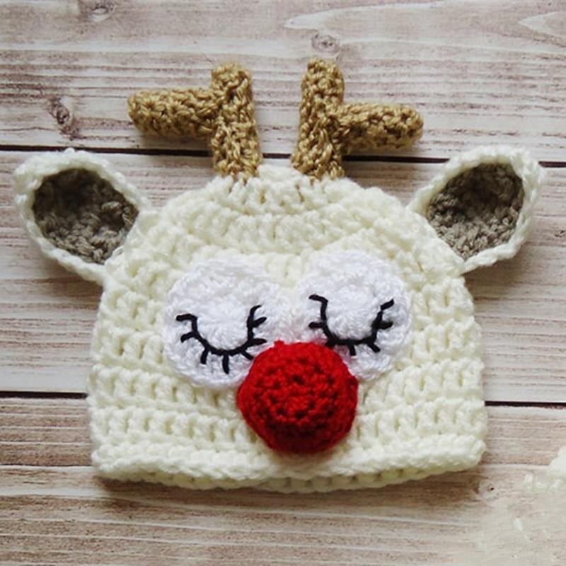 4ff17212a Handmade Knit Crochet Sleepy Reindeer Hat,Rudolph Red Nosed Moose ...