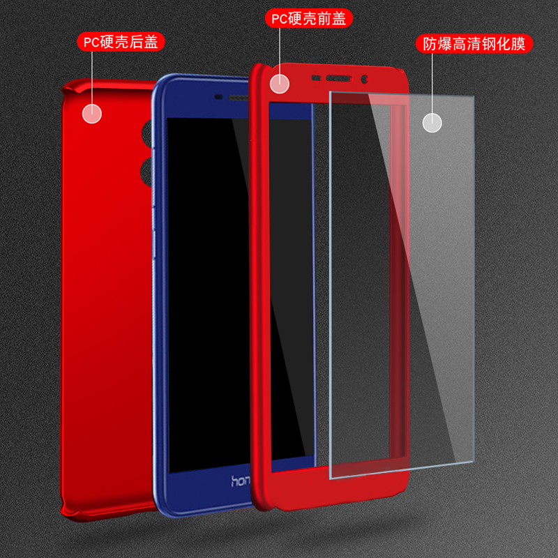 For Huawei Honor V9 Play Case 5.2 Hard Shockproof Cover 360 Full Coverage Degree Protective Tempered Glass on For honor v9play