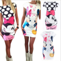 2017 New Fashion Women Summer Plus Size S-3XL Short Sleeve Slim Bodycon Cartoon Mouse Print Sexy Mini Dress Vestido Curto Cortos