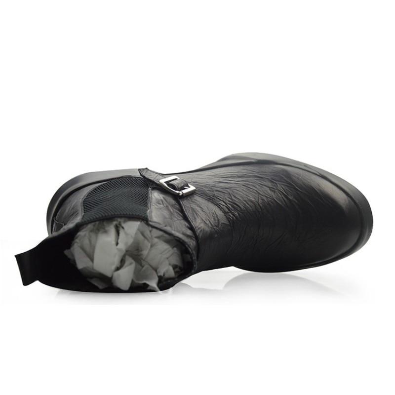 Britannique rétro 100% cuir véritable Chelsea bottes hommes automne hiver décontracté sans lacet bottines noir haut plate forme chaussures 38 44 - 5