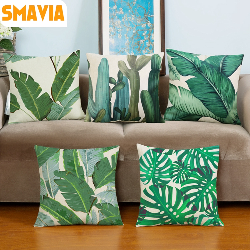 hot sale africa tropical plant printed cushion cover green leaves linen pillow cases soft chair