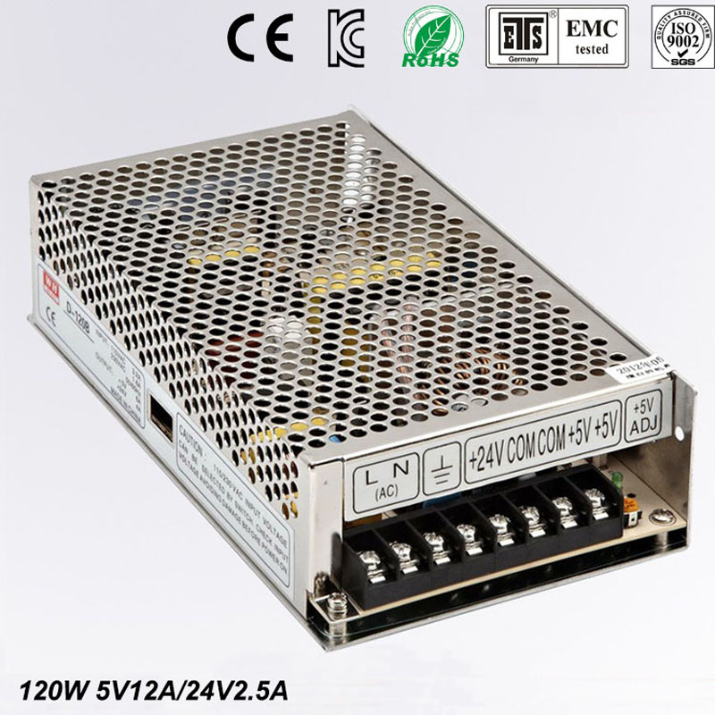 Best quality double sortie5V 24V 120W Switching Power Supply Driver for LED Strip AC 100-240V Input to DC 5V 24V free shipping цена