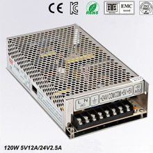 Best quality double sortie5V 24V 120W Switching Power Supply Driver for LED Strip AC 100-240V Input to DC 5V 24V free shipping
