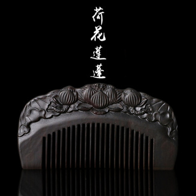 Professional Health Care Comb Anti-static Massage Black Sandalwood Comb Handmade Hair Brush Wedding/ Birthday Gift Freeshipping large panel natural wooden airbag massage hair health care comb wood black