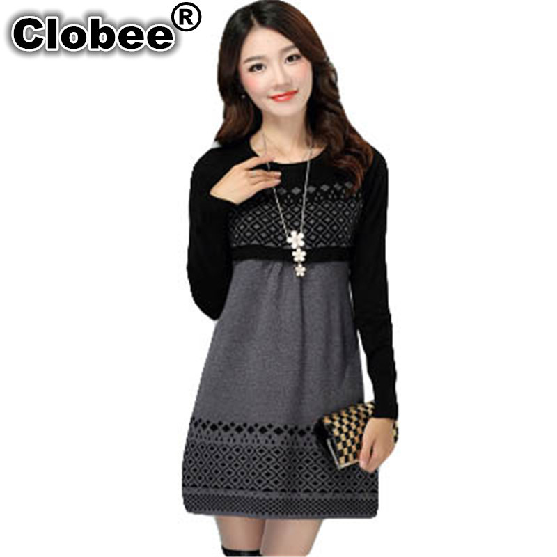 Women's Clothing Women Autumn Winter Dress 2019 Cotton Knitted Plus Size Long-sleeve Casual Dress One-piece Warm Cotton Sweater Dress S-3xl Aa242 Clearance Price