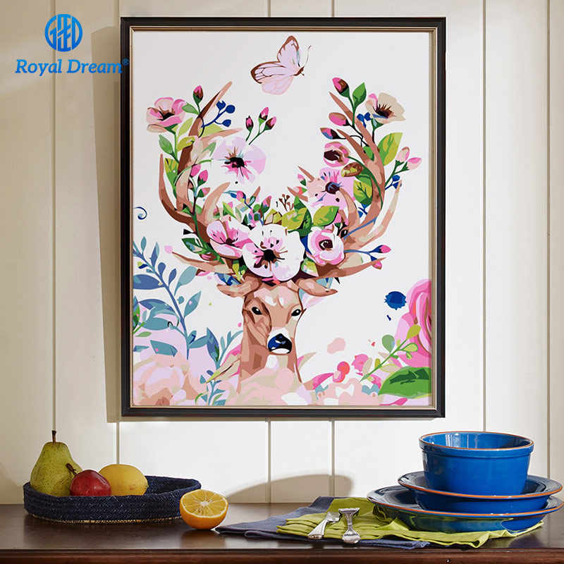 DIY Christmas Gifts Crafts for Adults Oil Painting By Numbers Acrylic Paint By Number Kits Home Decor Deer Poster for Livingroom