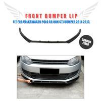 Carbon Fiber Front Bumper Lip Chin Spoiler For Volkswagen VW Polo 6R Non GTI 2011 2013 Car Tuning Parts