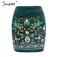 Simplee Vintage high waist skirts womens bottom Short boho style chic pencil skirt female Embroidery autumn sexy mini skirt