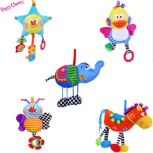 Happy Cherry Infant Baby Soft Cartoon Animal Plush Hanging Toys Spiral Crib Round the Bed Stroller Toy Baby Rattles Mobiles