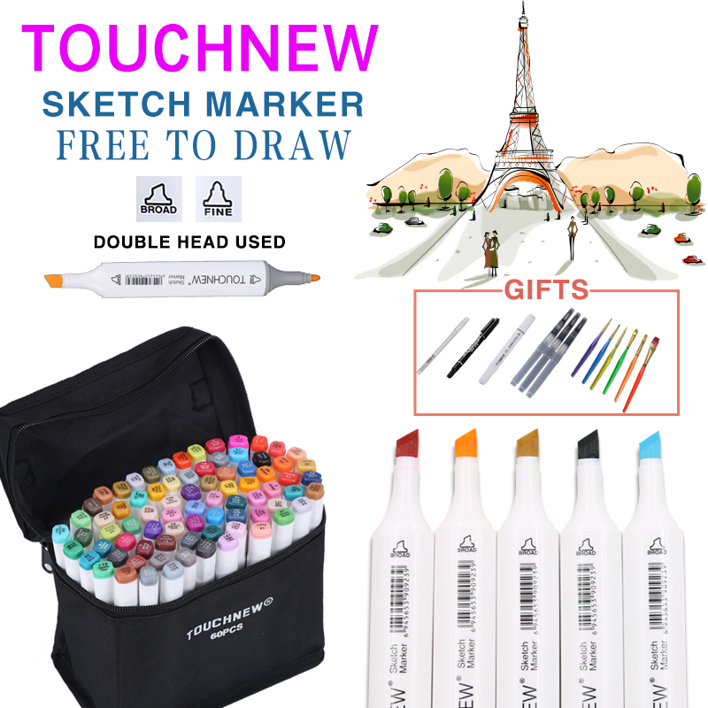 TOUCHNEW 30/40/60/80/168 Farben Art Marker Dual Head Skizze-markierungen Pinsel Stift für Draw Manga Animation Design Kunst Liefert
