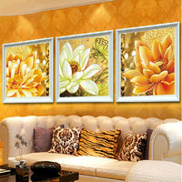 Full Square Diamond Embroidery Flowers DIY Diamond Painting Triptych Lotus mosaic icon paste full Needlework crafts Home Decor