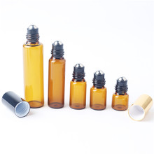 5pieces/lot 1ml 2ml 3ml 5ml 10ml Glass Roll on Bottle with Stainless Steel Roller Small Essential Oil Roller-on Sample Bottle