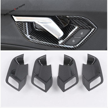 Yimaautotrims Inner Door Handle Doorknob Bowl Cover TrimFit For Audi Q3 2019 2020 Interior Mouldings Matte Carbon Fiber ABS