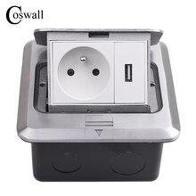 Coswall tüm alüminyum gümüş paneli Pop Up kat soket 16A fransız standart güç çıkışı USB şarj portu 5V 1A