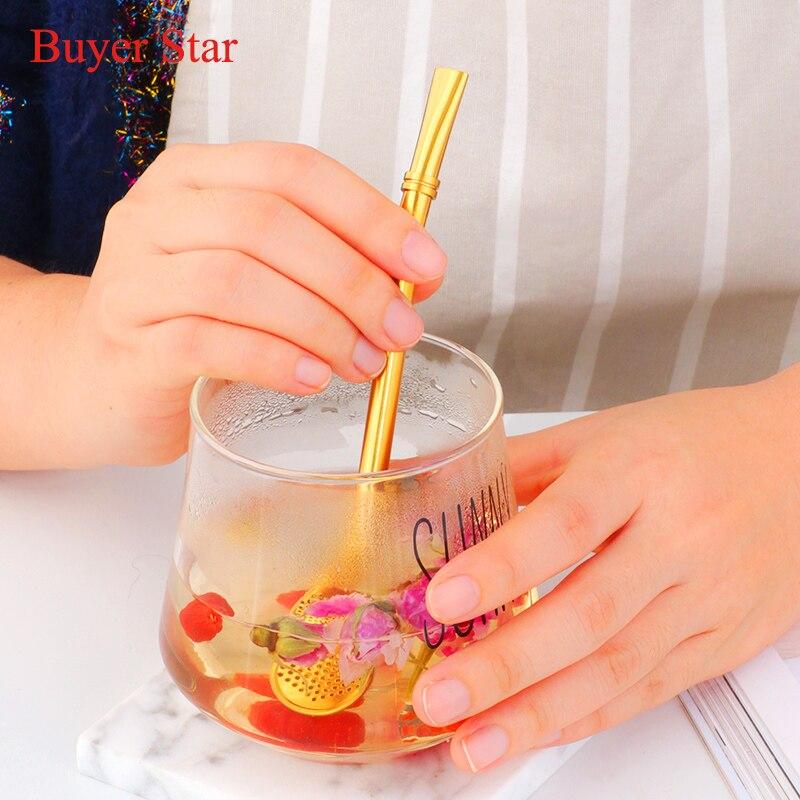 Drinking straw metal stainless steel straws Tea Bombilla Gourd Drinking Filtered plating gold rose gold black straws in Drinking Straws from Home Garden
