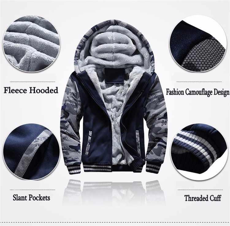冬インナーフリース厚いフード付きパーカー男性服ブランド迷彩防風暖かいトラックパーカー生き抜く