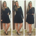Long Sleeves Cocktail Dresses Black Lace Short Prom Party Dress A Line Scoop robe de cocktail Short Party Gown Lace Formal Dress