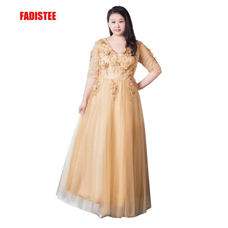 FADISTEE New arrival elegant party dress evening dresses 3D floral appliques pearls lace prom frock plus size sexy half sleeves