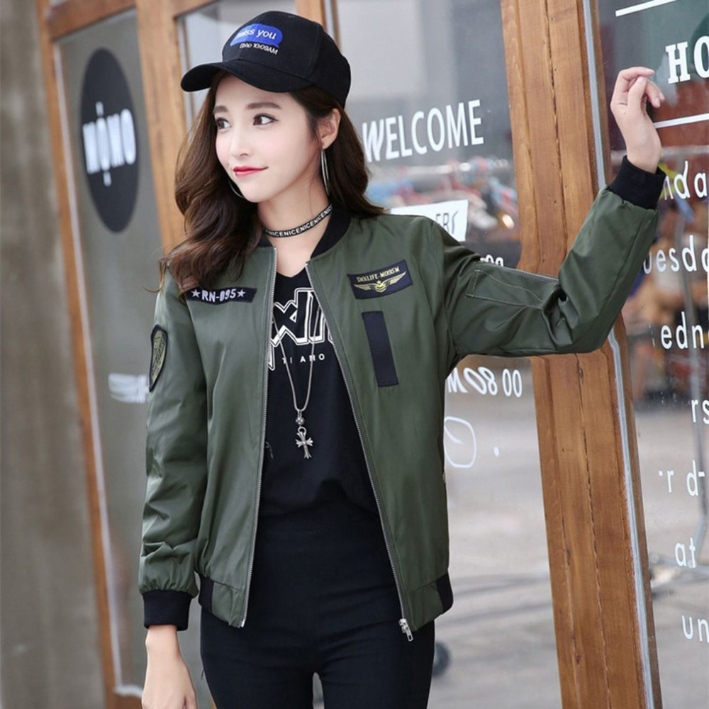 Women   Jacket   Fashion Zipper Up Bomber   Jacket   Embroidery Stand Collar Long Sleeve   Basic     Jacket   Coat Outwear baseball   jackets   Hot
