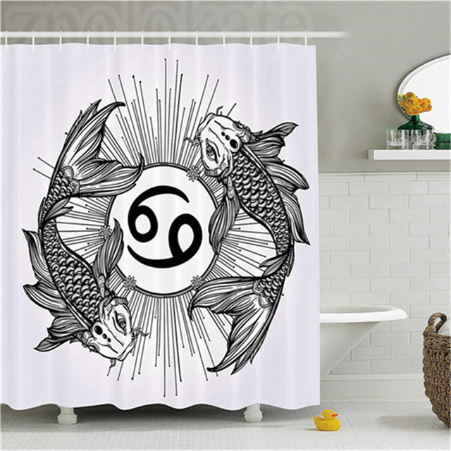Zodiac Decor Shower Curtain Sketch Of Pisces Sign With Fishes Constellation Boundaries Analysis Symbol Bathroom Set