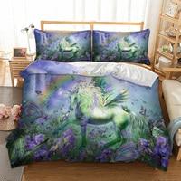 Unicorn Bedding Set Twin Full Queen King AU Single UK Double Size Plant Duvet Cover Pillow Cases 3D Quilt Cover Set