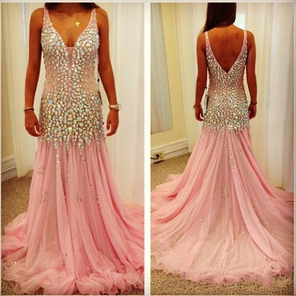 Spaghetti Straps V-neck Champagne Prom Dresses Mermaid Tulle Evening Gowns  Bling Bling Party Prom Gowns 5427d517c27a